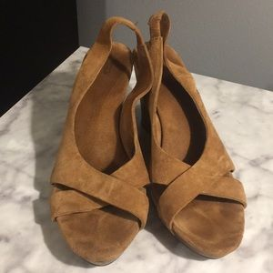 •UGG Australia• Suede peep toe wedge sandals
